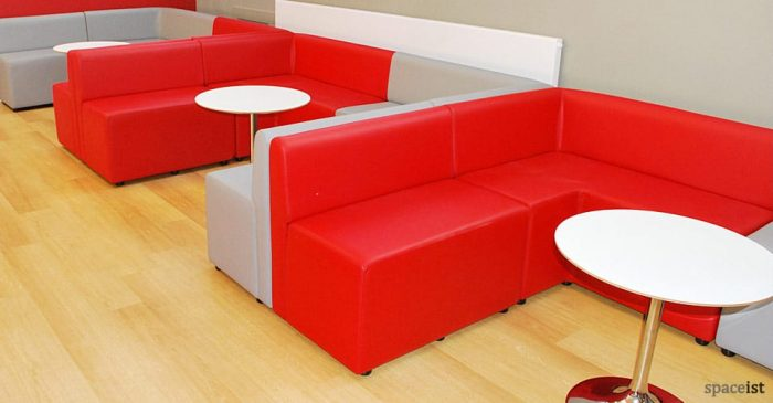 red corner modular cube booth seating