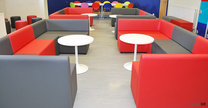 red and grey modular cube seating