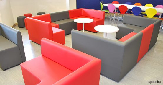 red grey college modular cube booth seating