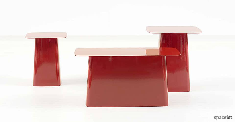 red metal reception coffee tables