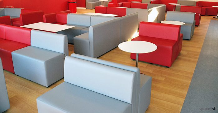 red modular cube seating