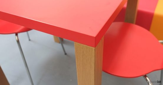 red oak square cafe table