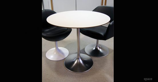 round trumpet white cafe tables 90cm dia