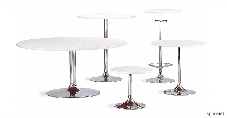round chrome trumpet tables group