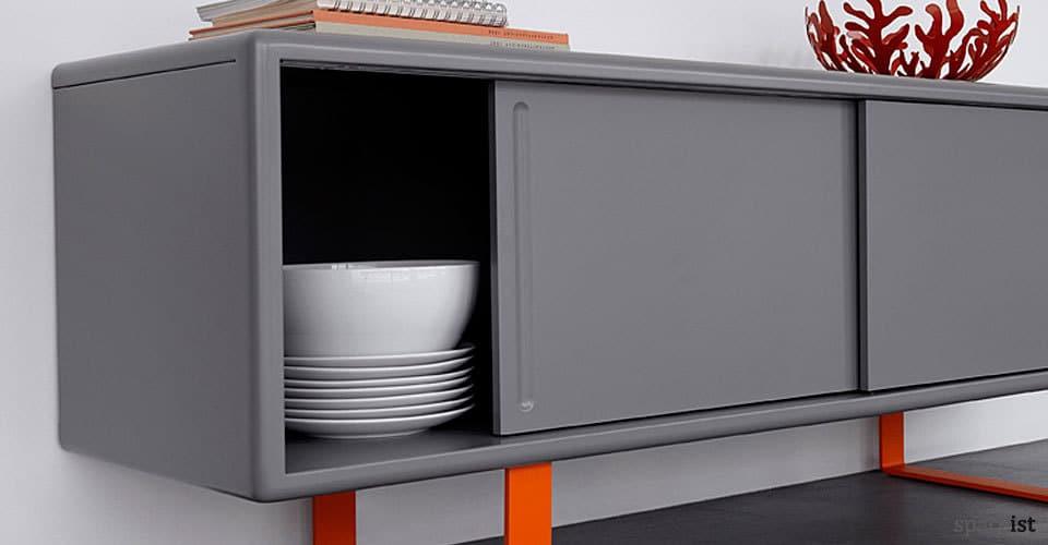 s4 grey orange meeting room cabinet closeup