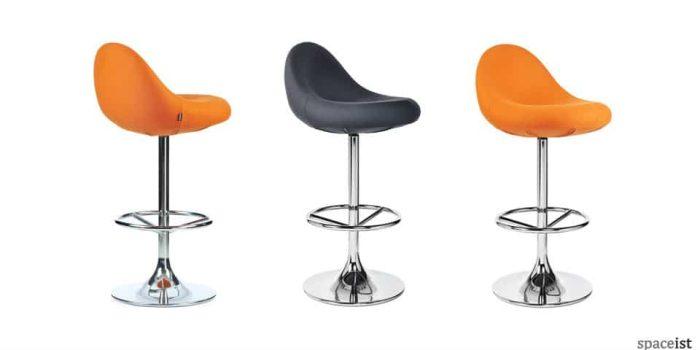 scoop orange leather bar stools