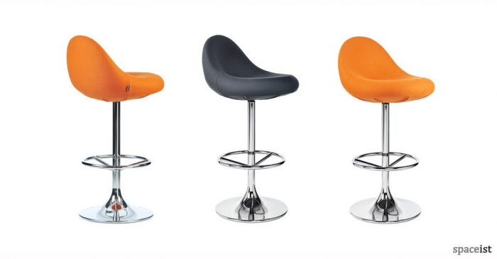 scoop orange leather bar stools
