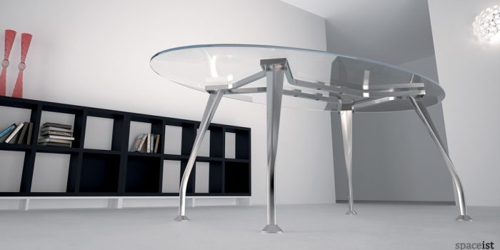 segno glass oval meeting tables