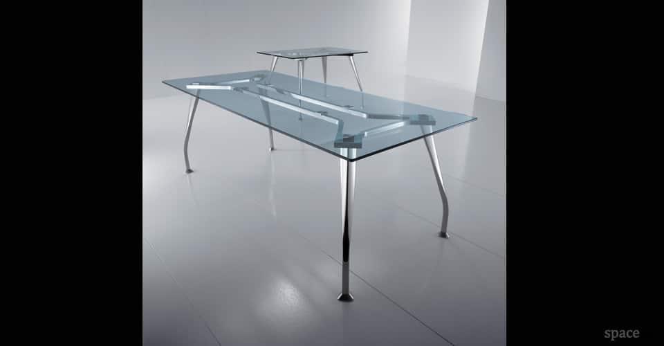 segno glass rectangular desks