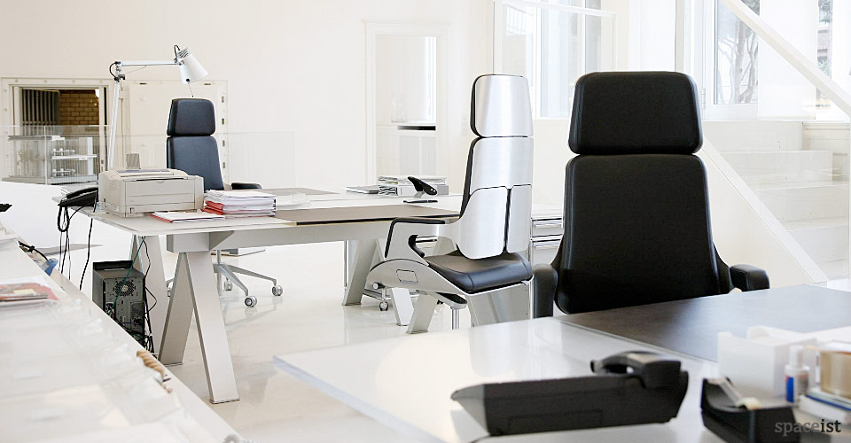 silver leather aluminium chairs