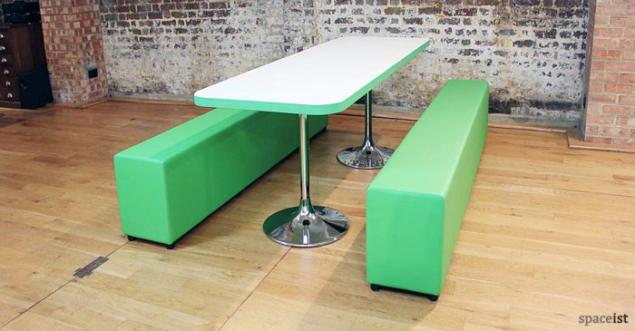 soft-bench canteen table green vinyl bench