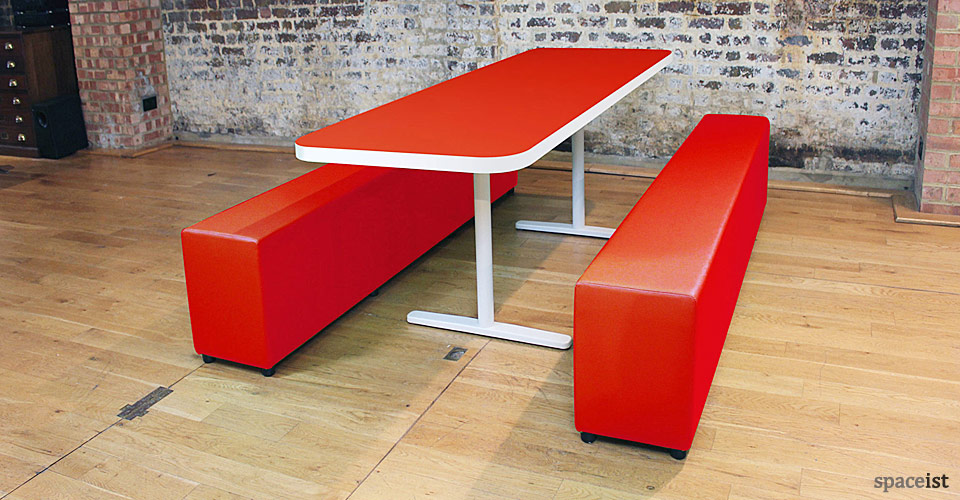 canteen tables benches t-leg base red top