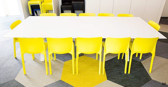 sir john cass hall long yellow meeting room chairs