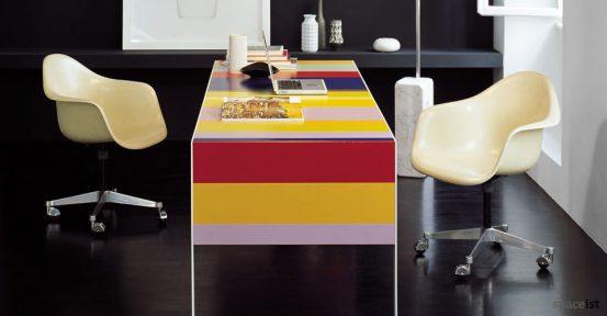 stripes colourful desk closeup