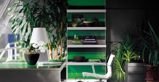 stripes green stripey office shelf