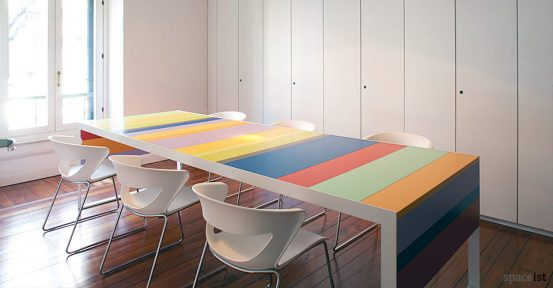 stripes multi coloured long meeting table