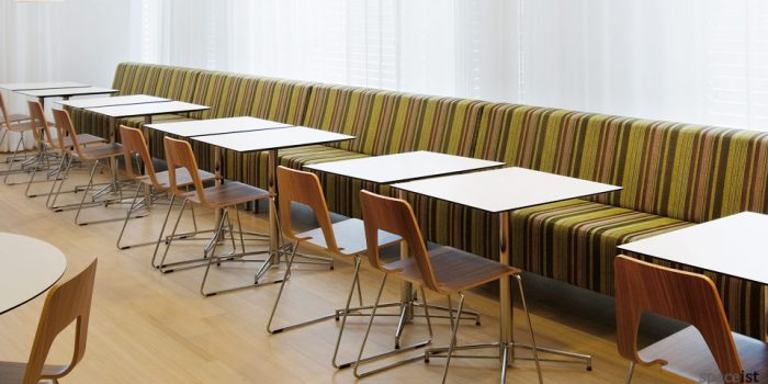 stripey banquette cafe seating
