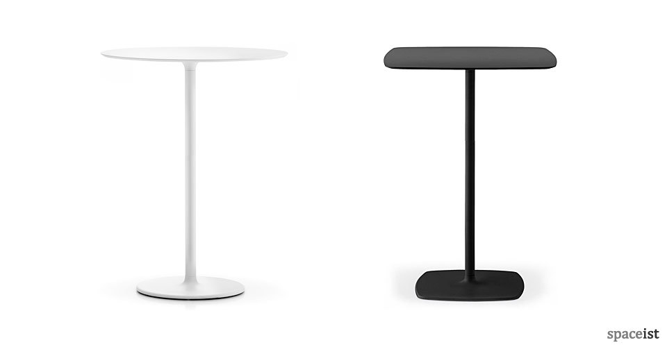 stylus 110cm high black and white bar height tables