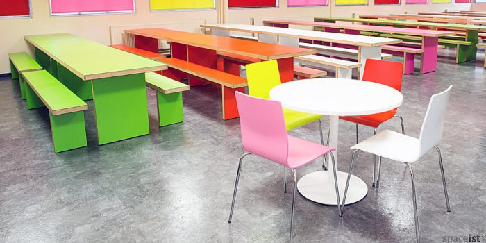 school green red pink and white canteen table and benches