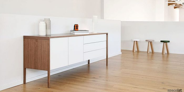 tactile walnut white cabinet