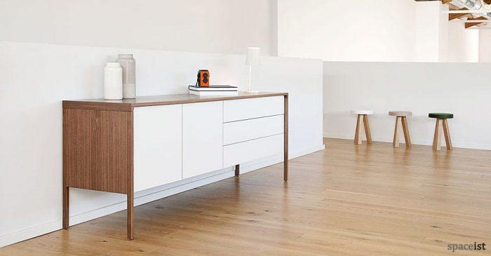 tactile walnut white cabinet