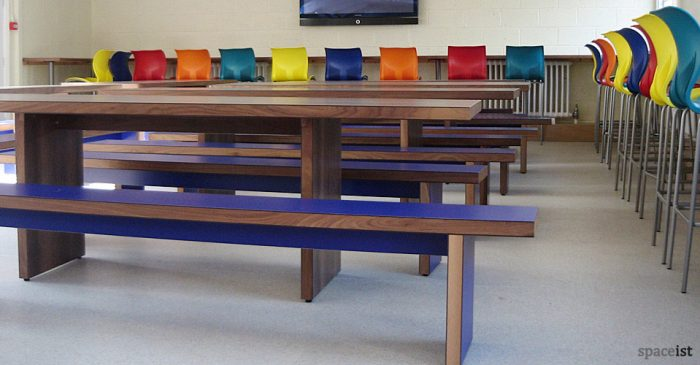 tolworth long walnut tables with blue benches