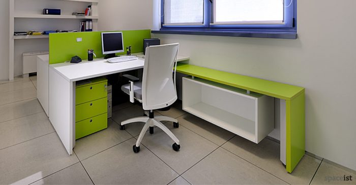 2 person tre long lime green office desk