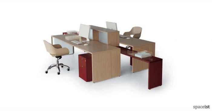 tre long oak desks