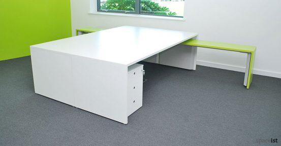 tre long white green bench desk
