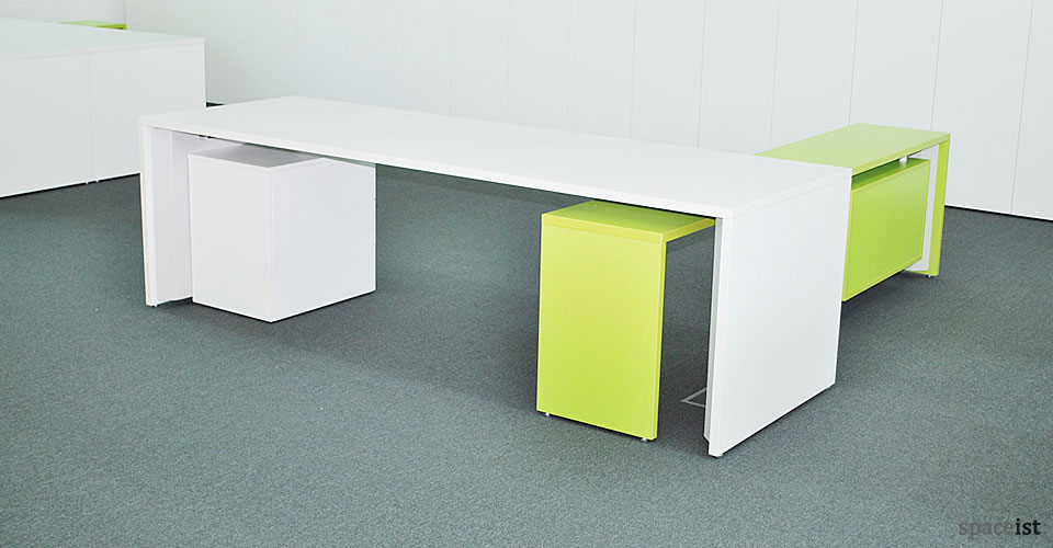 long office table. tre white bench desk with lime green return long office table