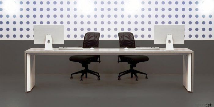 tre long white bench desk