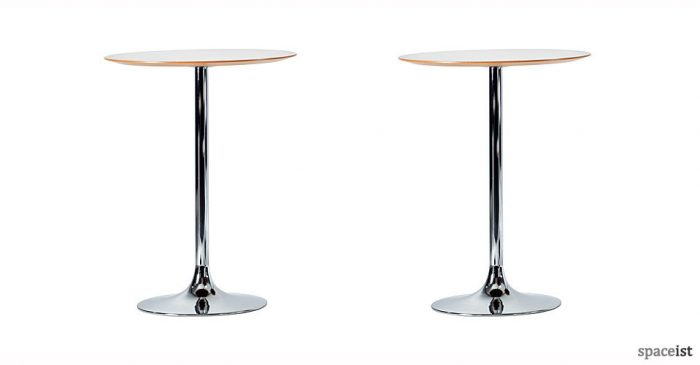 trumpet chrome 110cm high bar tables
