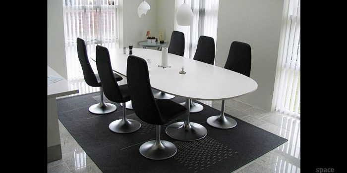trumpet white oval meeting tables