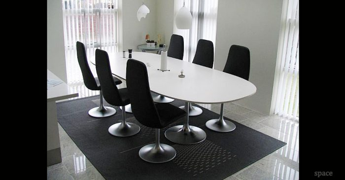 White Meeting Tables - D shaped conference table