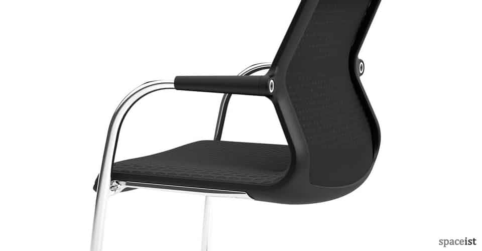 Unix cantilever chair in black mesh seat