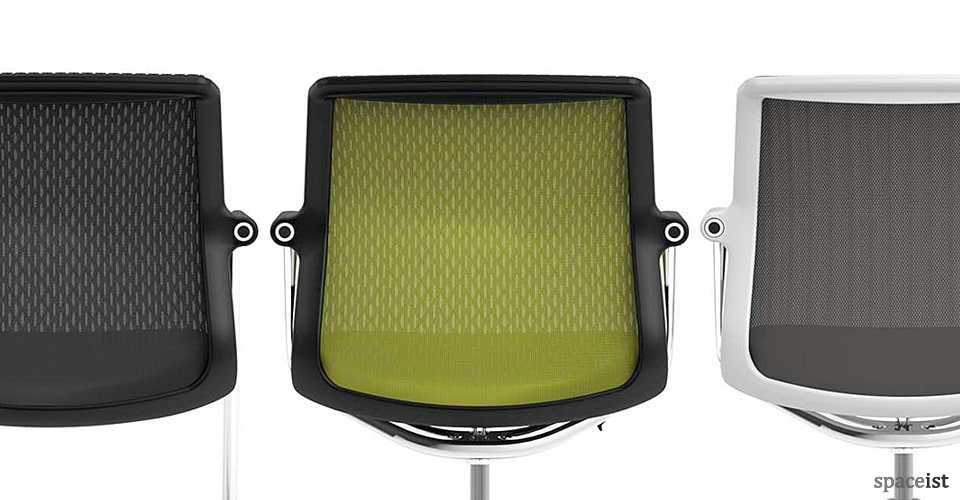 Unix cantilever chair in black, green and grey mesh