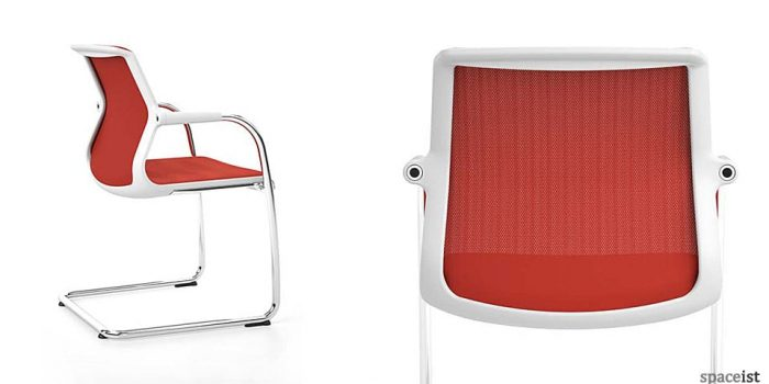 Unix cantilever chair in red mesh