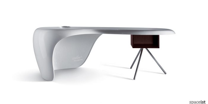 uno white glossy executive desk