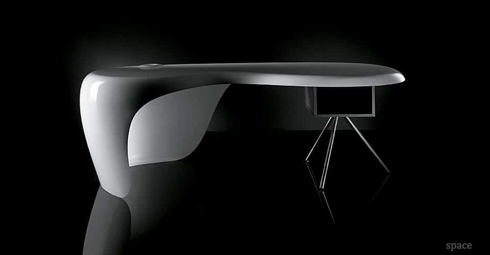 uno white glossy executive desk