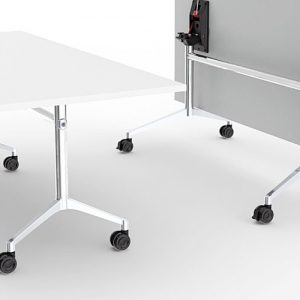 UR white stackable wheeled folding table