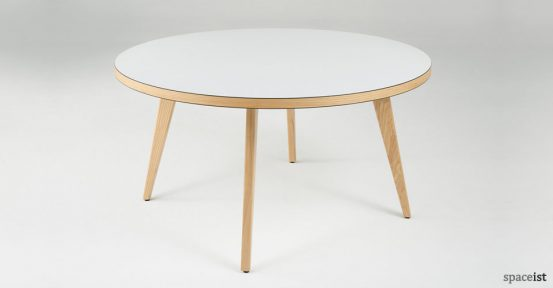 ura round white canteen tables