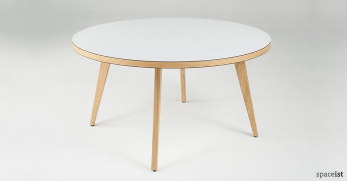 ura round white canteen tables