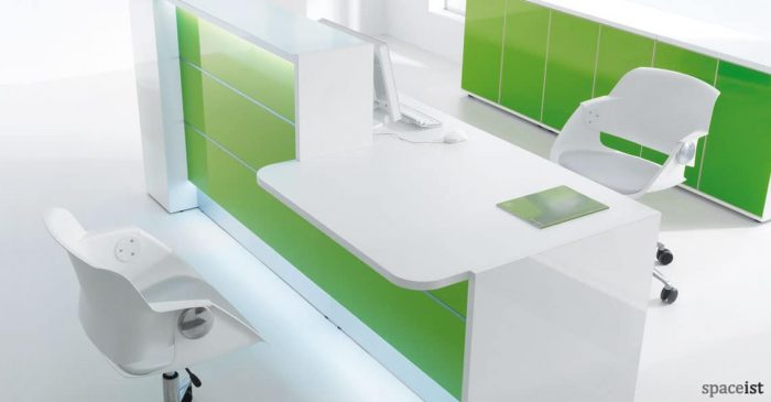 Valde green reception desk low front