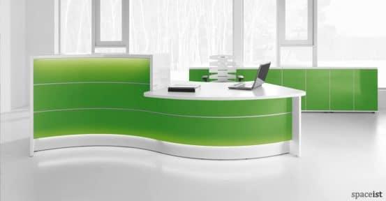 Valde green wavy reception desk