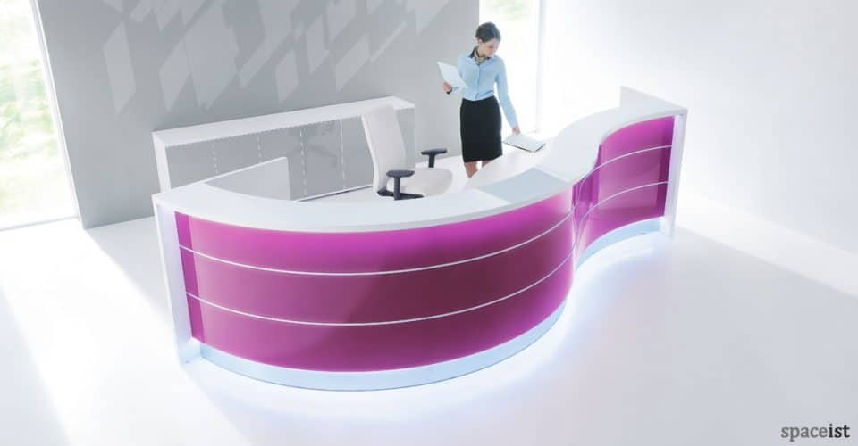 Valde purple gloss reception desk