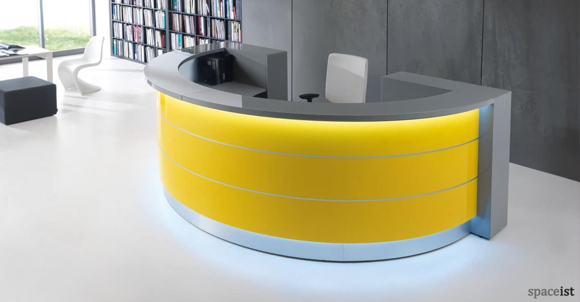 White Reception Desks Valde Half Circle Desk