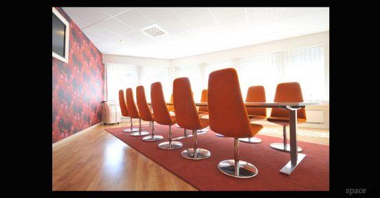 modern orange high back meeting room chairs
