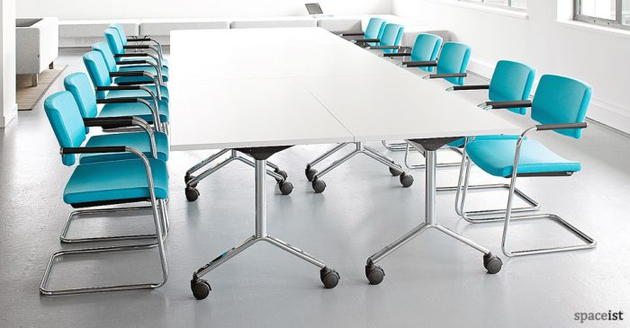folding meeting tables flip top conference tables spaceist