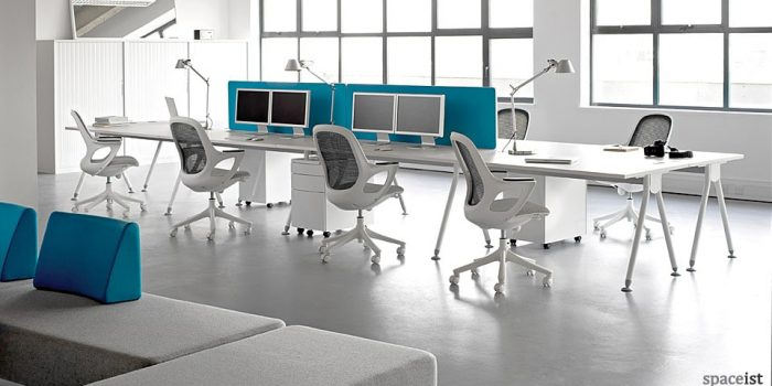visual white bench desk
