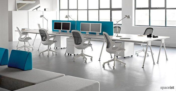 visual white bench desk
